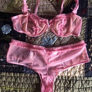 Chantal Thomass Pink Ruffled Tulle Set 34B/S